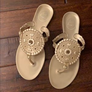 Jack Rogers Georgina Gold Jelly Sandals...EUC!